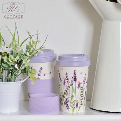 Purple Lavender Bamboo Travel Mug