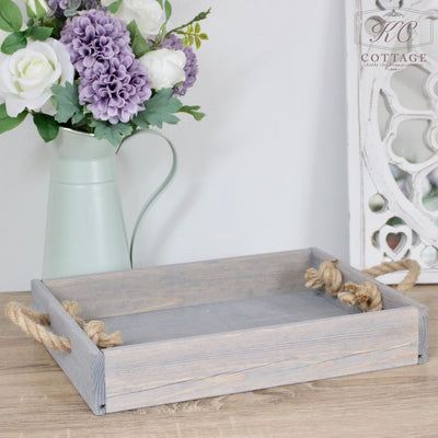 Wooden Grey Rectangle Tray