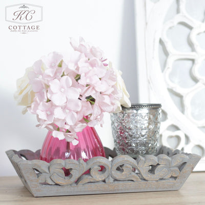 Grey Wooden Ornate Tray Set