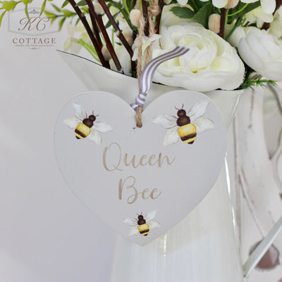 Wooden Hanging Bee Heart