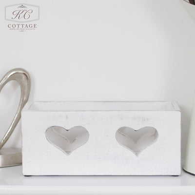 White Heart Tea Light Holder
