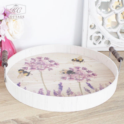 Bee and Lavender Large Round Tray