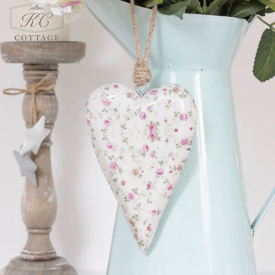 Floral Shabby Chic Hanging Heart
