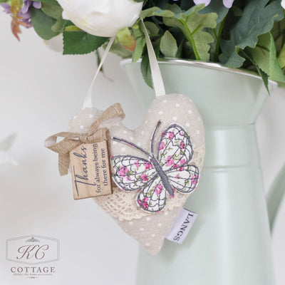 Hanging Fabric Butterfly Hearts