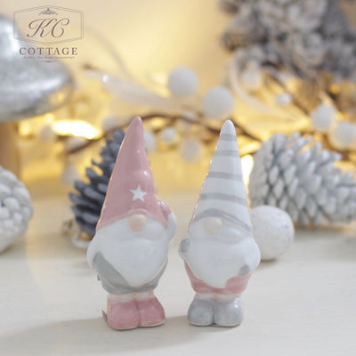 Christmas Pink and Grey Ceramic Standing Gonks
