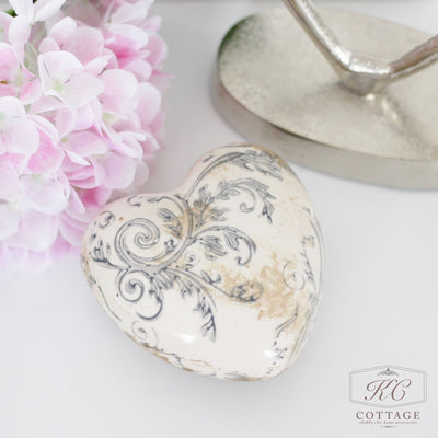 Distressed Floral Heart Ornament