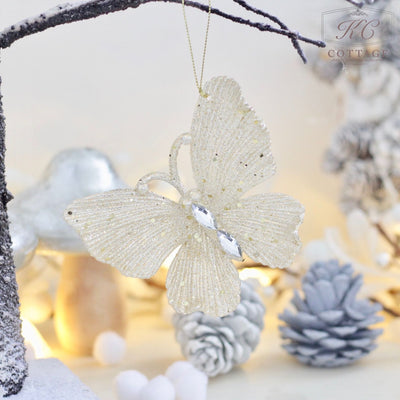 Champagne Gold Butterfly and Dragonfly Hanging Christmas Tree Decoration
