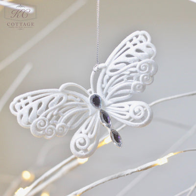 White Glitter Butterfly Hanging Christmas Tree Decoration
