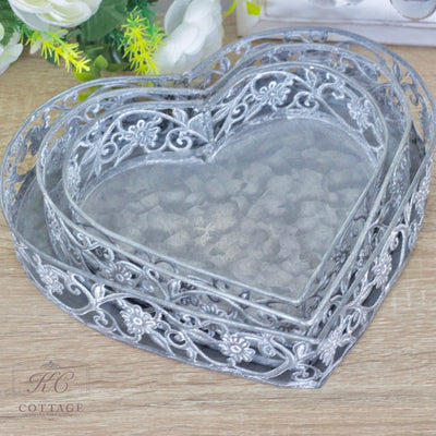 Metal Floral Heart Tray Set
