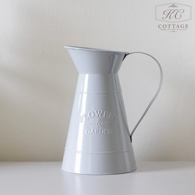Grey Flowers and Garden Metal Jug