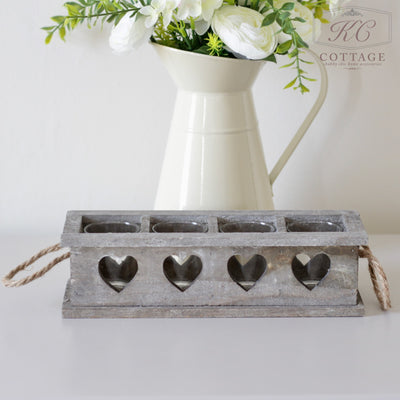 Grey Washed Wooden Heart Tea Light Holder