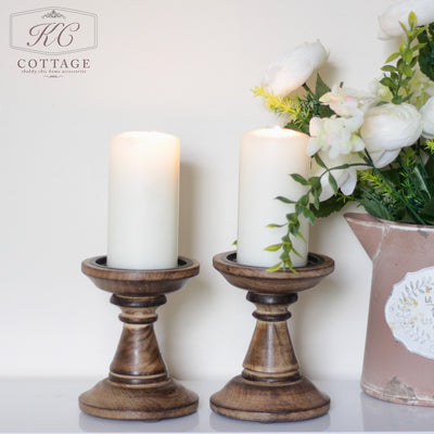 Brown Wooden Candlesticks