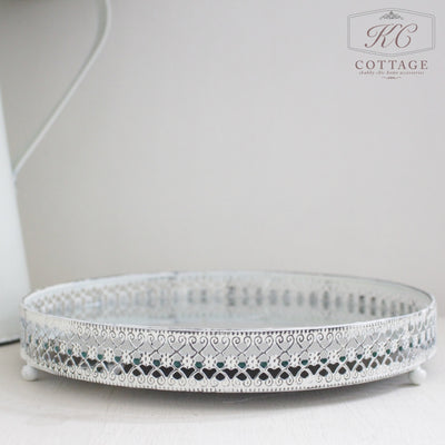 Round Cream Mirrored Shabby Chic Tray