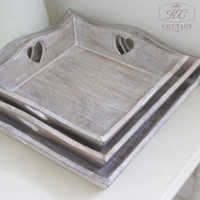 Square Wooden Shabby Chic Tray Set