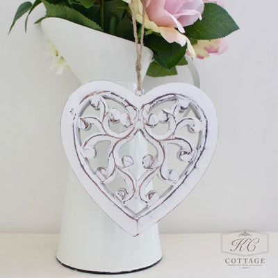 white wooden shabby chic hanging heart