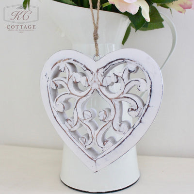 White wooden hanging heart