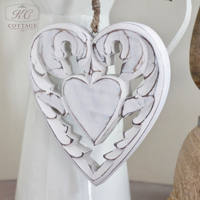 Winged Wooden Shabby Chic Hanging Heart