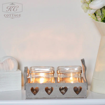 Square Glass Candle Holders in Wooden Heart Holder