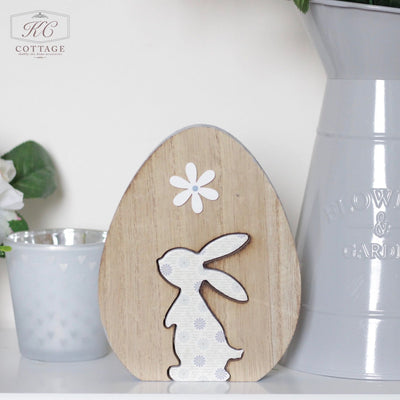 Wooden Easter Egg With Rabbit