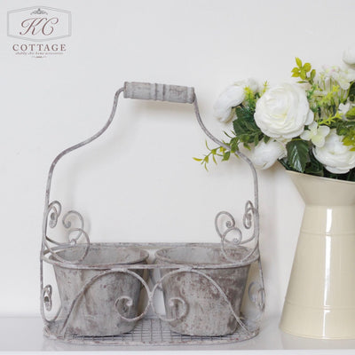 Metal Rustic Double Planter