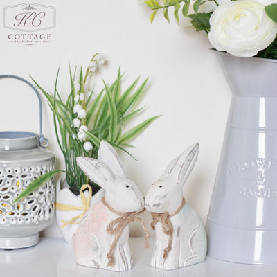 Sitting Pink & Blue Wooden Rabbit Set