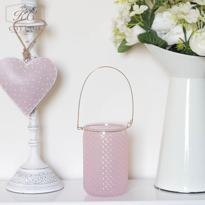 Pink Glass Tea Light Lantern