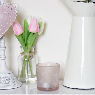 Pink Floral Etched Tea light Holder