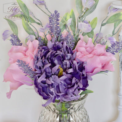 Artificial Wild Lily & Lavender in Glass Jar