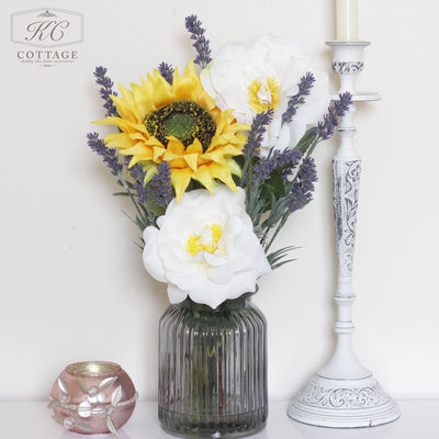 Artificial Sunflower and Diana Rose in Glass Jar