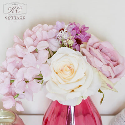 Artificial Wild Tea Rose Posy In Glass Jar
