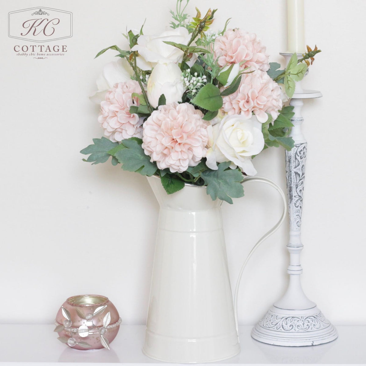 Rose & Chrysanthemum in Metal Jug