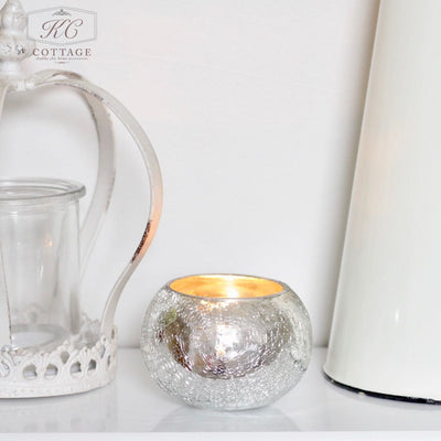 Silver Crackled Tea Light Holder
