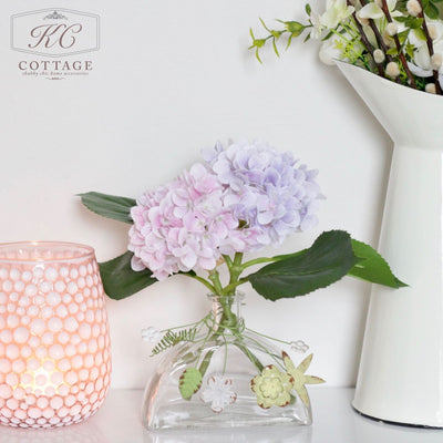 Glass Stem Vase with Hydrangea Mix