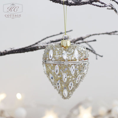 Hanging Christmas Heart Glass Trinket Boxes