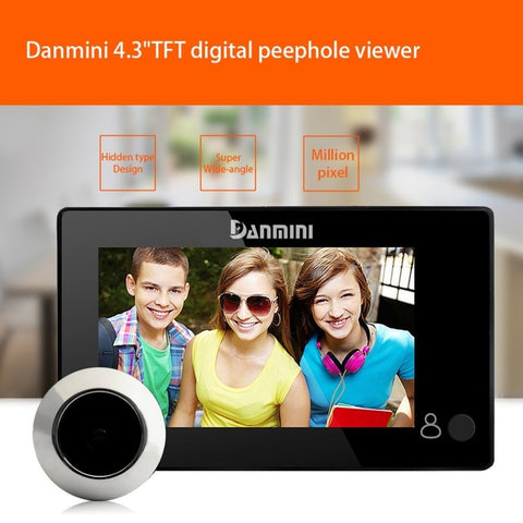 Peephole Video Door Bell Surveillance Camera 1080p Fish Eye Lens