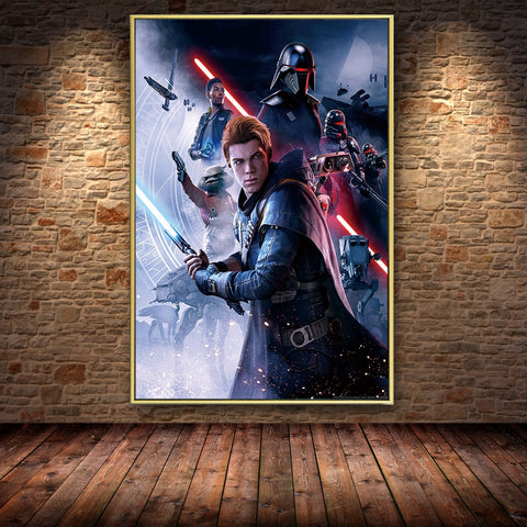 Star Wars Canvas Fallen Order Movie Portraits Game Room Decoration