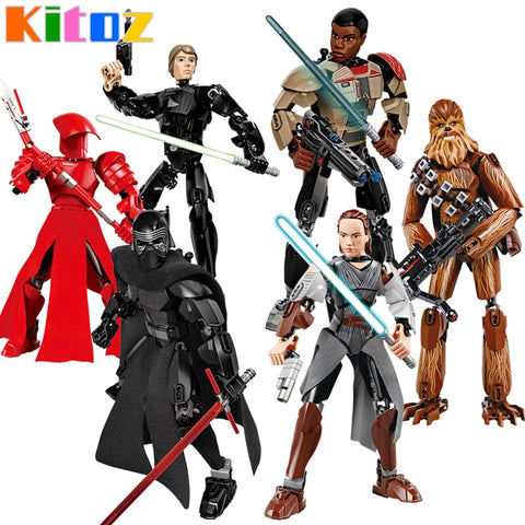 Star War Lego Compatible 10 Inch Action Figures Kylo Ren Jango Boba Fett Chewbacca K-2SO Poe Rey Finn