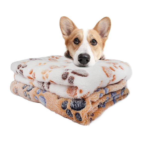 Pet Soft Blanket Dog Cat Bed Mat Foot Print Warm Sleeping Mattress Small Medium Dogs Coral Fleece Pet Mattress