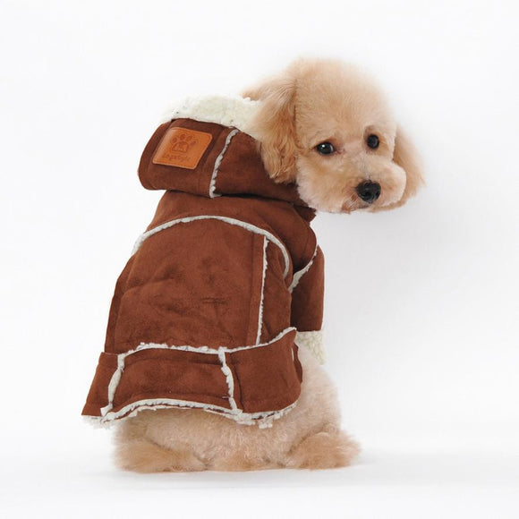 Suede Fabric Dog Jacket