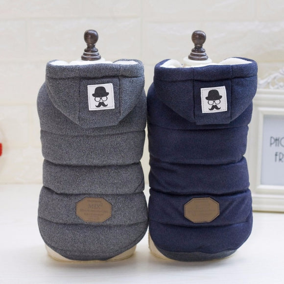 Dog Winter Hooded Coat Two Feet Cotton-padded