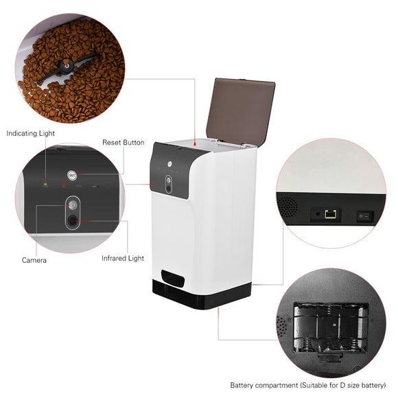 Automatic Pet Feeder Cat/Dog Food Dispenser 6L Storage with Camera & Voice Recorder Wifi Connection Compatible for IOS/Android