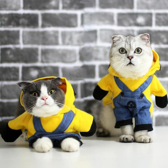 Dog Cat Clothes Minions Cartoon Cute Hoodie Pet Novelty Costume Puppy Clothes for Dogs Cats Winter Autunm Warm Coat