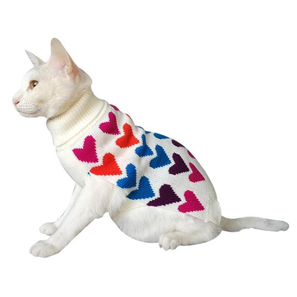 Cute Dog Cat Costume Heart Print Knitted Sweater