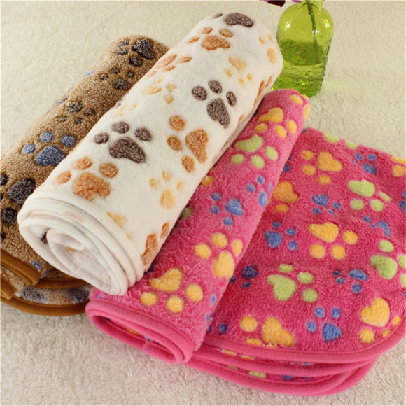 Pet Bed Mats Soft Flannel Fleece Paw Foot Print