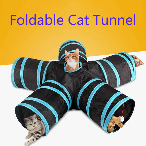 5 Holes 12 Colors Foldable Pet Tunnel Indoor Outdoor