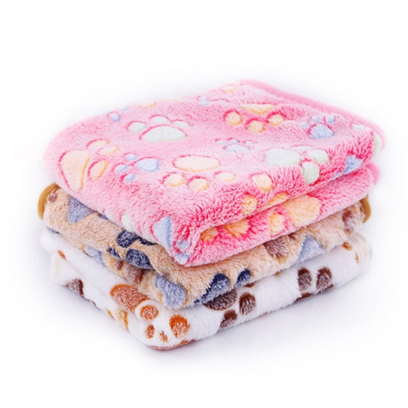 Pet Blanket Paw Pattern and Pet Mats of Breathable Soft Fleece