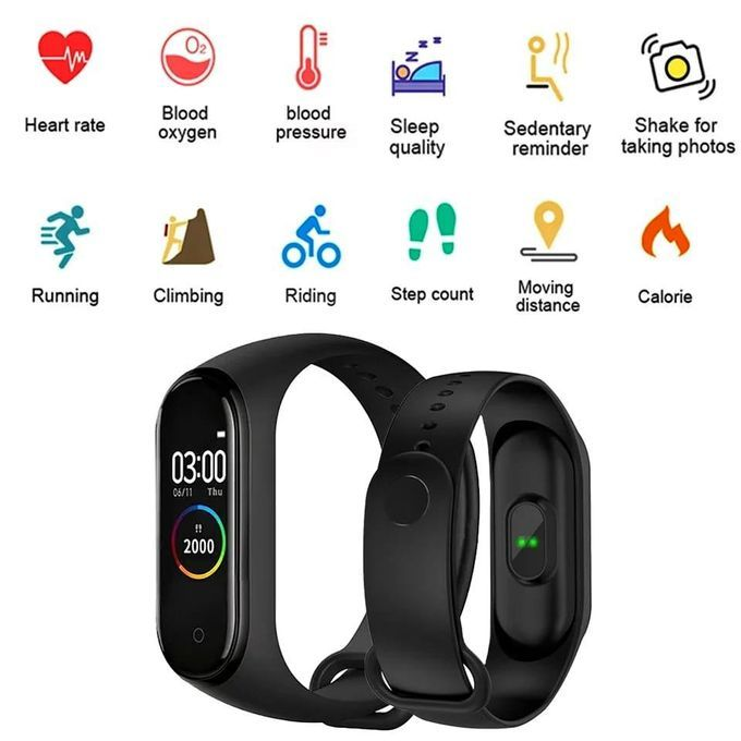 M4 Smart Bracelet Fitness Tracker Heart Rate Monitor NOir Montre intelligente Connectée - Smart bracelet Pour Android Et IOS - e-Morocco Mall