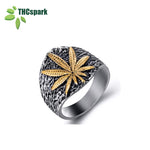THCspark Mens weed  Stainless Steel Ring