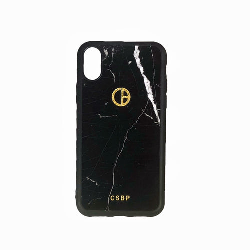 Nero Marquina marble iPhone case with CSBP logo