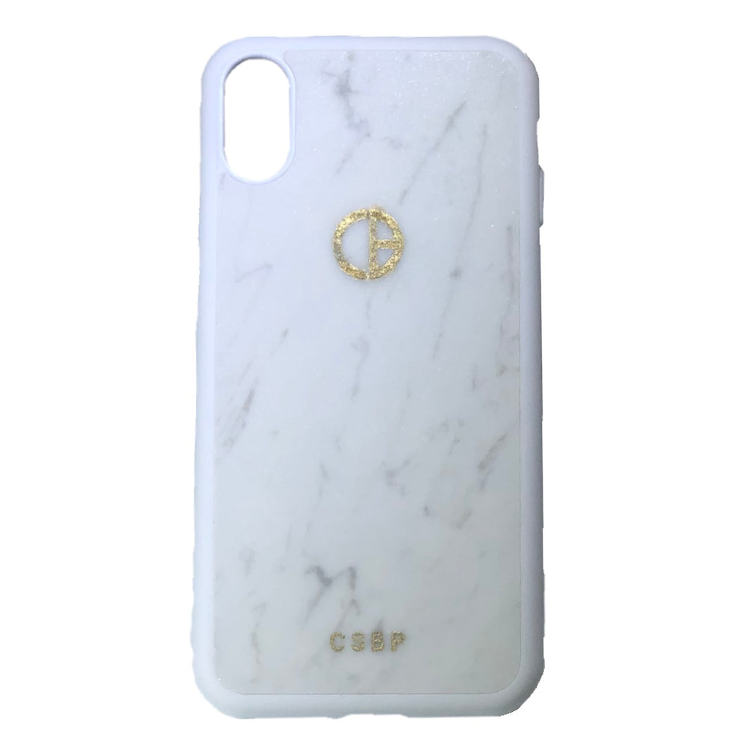 Carrara marble iPhone case with CSBP logo